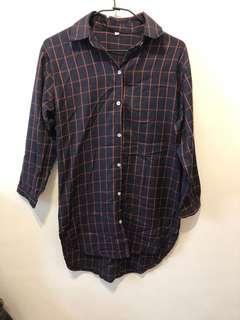 長版格紋襯衫