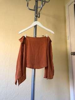 THREE OF SOMETHING Burnt Orange Silky Off Shoulder Tie Up Top