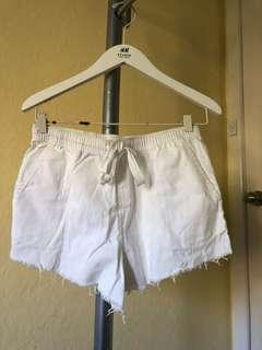 CAMILLA AND MARC White Cotton Frayed Tie Up Shorts