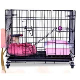 精選升級版金屬雙門口雙層貓籠, 寵物籠, 有樓梯, 有底盤, 送吊床, 升級版底部加設滑輪