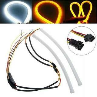 2Pcs 30cm Soft Flexible Tube LED Strip Headlight DRL Light White Amber Turn Lamp