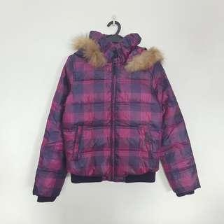 Jeanswest Purple Plaid Down Jacket With Detachable Fur Trimmed Hood