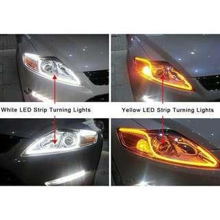 2Pcs 45cm Soft Flexible Tube LED Strip Headlight DRL Light White Amber Turn Lamp