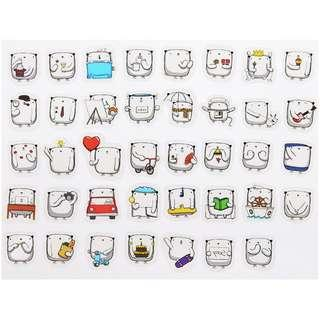 PVC Sticker Flakes - Square Bear