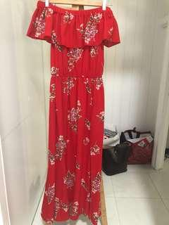 New without tags red maxi dress with small splits s 8