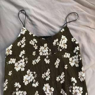 Korean floral spaghetti dress