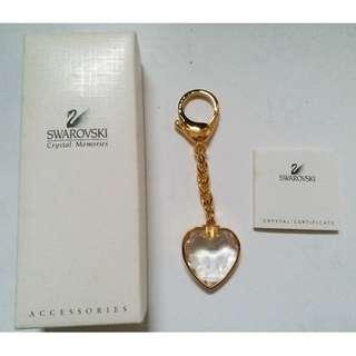 Vintage Swarovski Crystal Heart Keyring in golden accent with original box