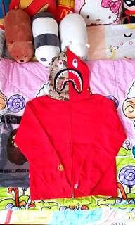 Stussy x Bape A Bathing Ape 1st Desert Camo Red Shark Hoodie