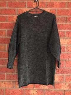 Sparkly knit batwing dress size XS