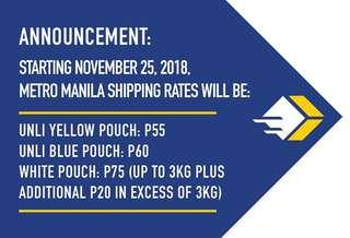 [NOTICE] FASTRACK NEW SHIPPING RATES