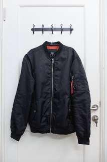 Jaket Bomber Bershka Black with Red Tag