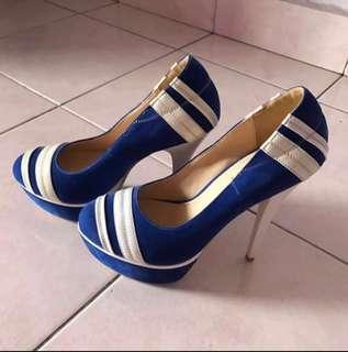 Blue & white heels