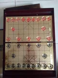 Chinese Chess Set gold plated