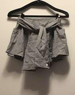 襯衫綁帶風褲裙