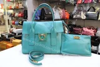 Salvatore Ferragamo Turquoise Blue Sookie Handbag Small