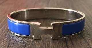 Hermes Narrow Enamel Clic Clac H Bracelet - Royal Blue