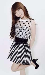 網紗胸型透視小洋裝
