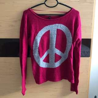 Hot Pink Peace Sweater