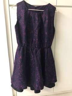 紫色暗花連身裙