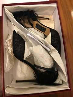 Salvatore Ferragamo narleen black lace with feather heels