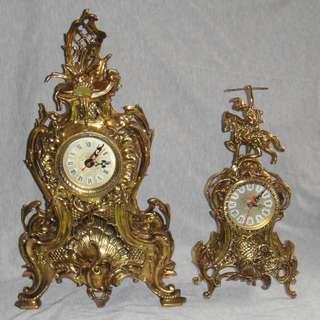 葡萄牙 鍍金銅壁爐架羅馬數字檯鐘 一大一小