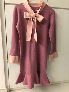 粉紅蝴蝶結針織修身魚尾裙