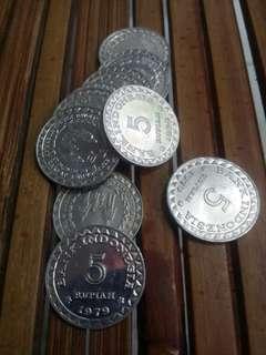 Uang Kuno 5 Rupiah Alumunium 1979 Asli