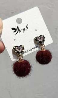 Cute maroon fur ball earrings in 925 silver