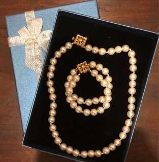 Faux Pearl Necklace and Bracelet Set