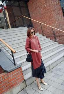 Longline knit dress - Maroon Brown \autumn winter knitted long sweater