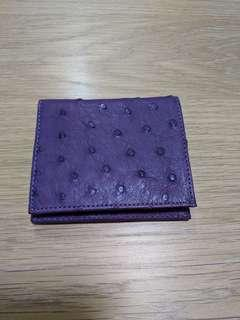 Ostrich leather tri-fold wallet