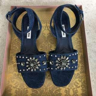 Miu2 denim sandals with crystals