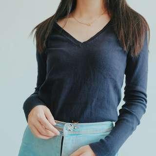 Zara V-neck Navy Knit Sweater