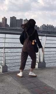 🚚 咖啡色 吊帶褲