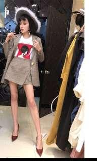Pre-order Korean Style Women Jacket Plaid & Skirt