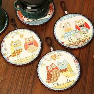 Woodywood Hand-painted Porcelain Coasters comes with Hanger loop - Owls