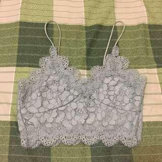 H&M lace bralette mint / tosca crop top