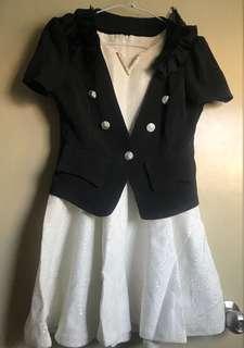 🚚 西裝外套+白色小洋裝