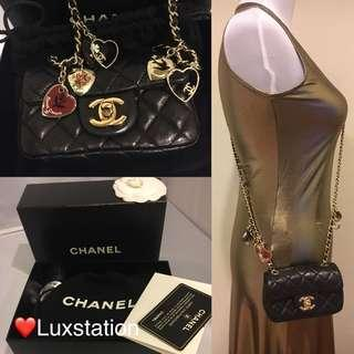 cdb935114224 Full Set with Receipt- Chanel Black Quilted Lambskin Extra Mini Valentine  Flap Crossbody 💕