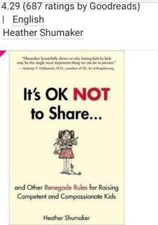 Parenting book - It's ok not to share... by Heather Shumaker