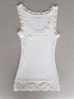 Esprit white tank top with lace