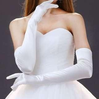 long white satin gloves