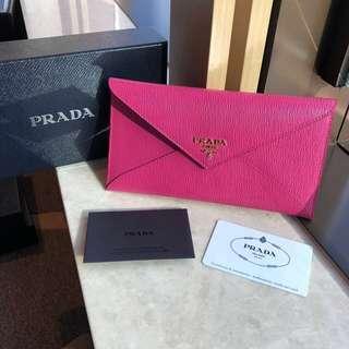 PRADA Envelope Leather Wallet Vitello Move Fuxia Purple Pink