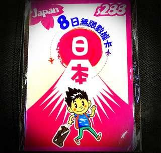 日本8日Softbank 4G無限上網卡