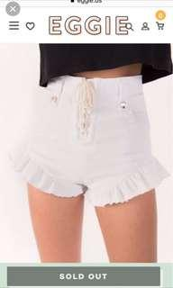 Trendy Lace up High waist shorts