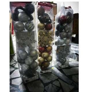 福利品 聖誕樹防碎裝飾45入X3 包 包裝不佳 不退 裝飾品 球形裝飾