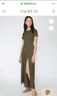 Preowned Yacht 21 Ailly Split Front Jumpsuit in Olive Green size L UK 12