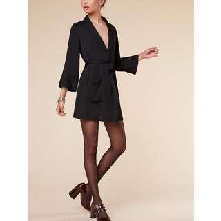 Reformation Robe Dress Black / wrap tie ribbon kimono short mini