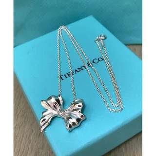 原價$3000 Tiffany Silver Ribbon Bow Pendant & Chain Necklace