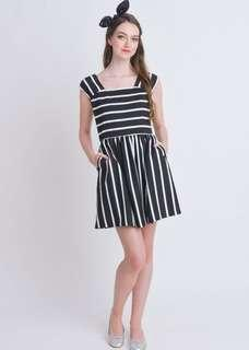L'zzie Kellar Black White Stripes Skater Dress